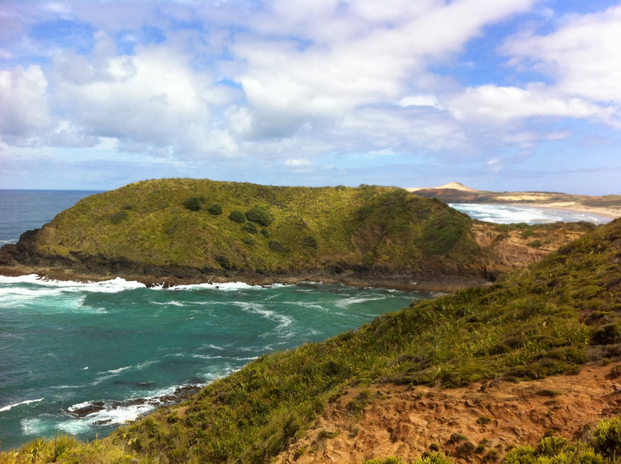 The view North to Twilight Beach and my first campsite on the flank of the prominent sand hill.